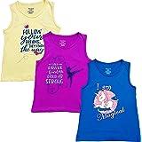TotzTouch Girls Cotton T Shirt Sleeveless Set of 3
