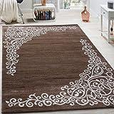 Paco Home Tappeto di Design con Motivo Floreale Filato Lucido Beige Bianco Marrone mélange, Dimensione:80x150 cm