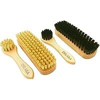 DELARA Kit de brosses à chaussures : petites brosses à chaussures et brosses à cirage en poils naturels, 4 pièces au…