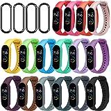 ivoler [20 Stuks] 16 färger armband + 4-pack skärmskydd för Xiaomi Mi Band 5, Soft Silicone Waterproof Wearable Breathable Wa