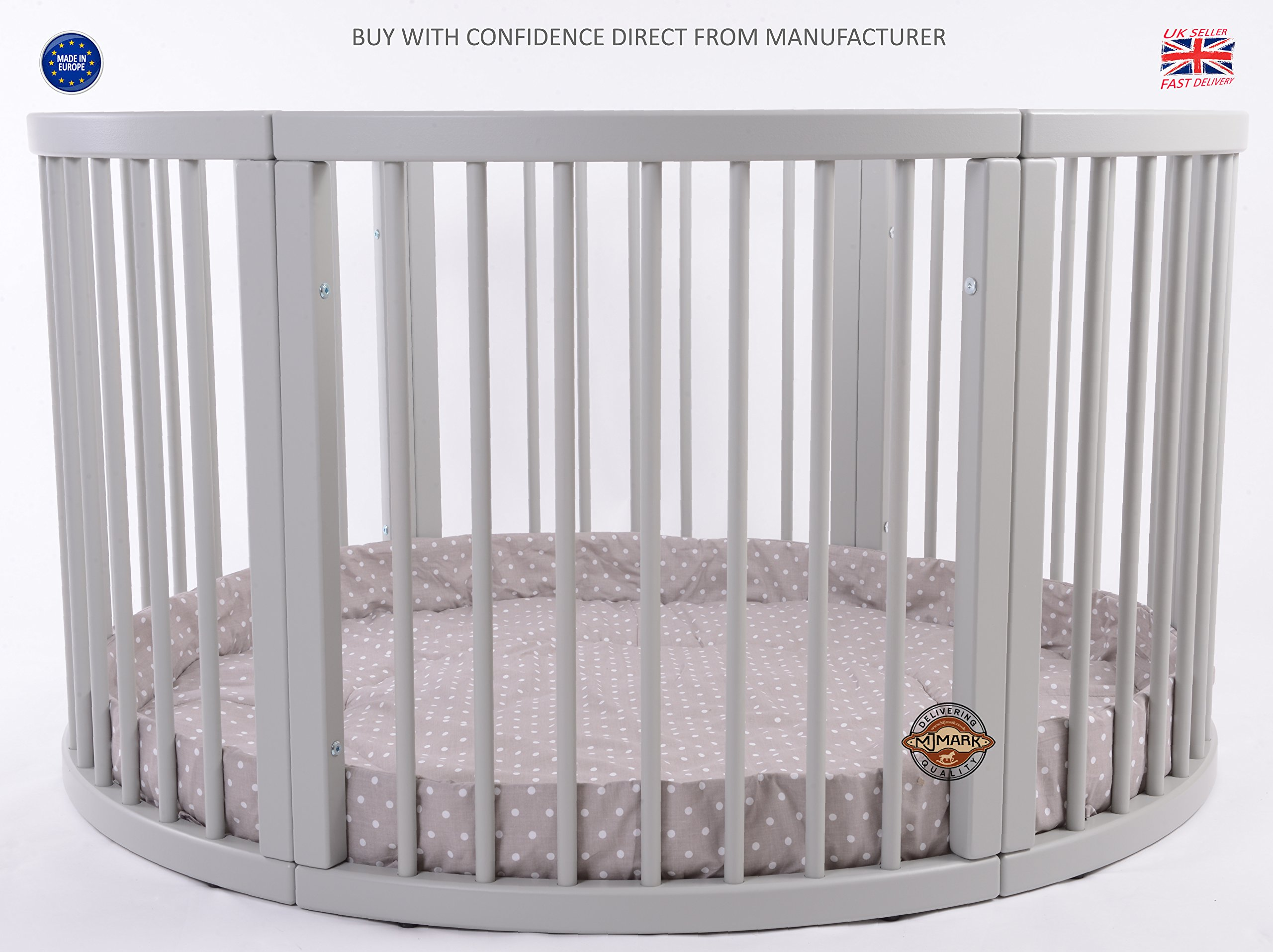 MJmark VERY LARGE Wooden Round PLAYPEN ATLAS QUATTRO with play-mat in Cappucino with white Polk Dots SALE SALE  Height 70 cm approx; Ø 120cm Playmat included made from solid hard wood (Birch) 1