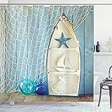 ABAKUHAUS Náutico Cortina de Baño, Las Estrellas de mar Marino, Material Resistente al Agua Durable Estampa Digital, 175 x 20