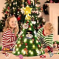 Outgeek Feltro Albero Natale, Albero di Natale dai da Te con 50 luci a LED 18 Pezzi Ornamenti per i Bambini Regali di...