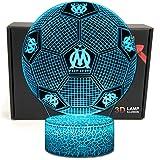 Deal Best football forme 3d illusion optique intelligent 7 couleurs led night light lampe de table avec câble d'alimentation