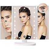 FASCINATE Lusterko kosmetyczne z oświetleniem, składane lusterko do makijażu z powiększeniem 10x 3x 2x, podświetlane lusterko
