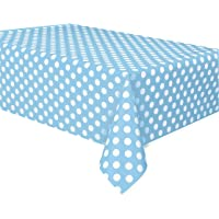 Unique Party 50258 - Plastic Baby Blue Polka Dot Tablecloth, 9ft x 4.5ft