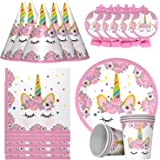 Party Propz 30Pcs Unicorn Girls Birthday Party Decoration Kit Including Plates and Cups, Caps and Blowout, Napkins for…