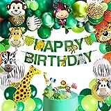 vamei 149PCS Fiesta de cumpleaños Decoracion Selva Niño-Feliz cumpleaños Aarticulos de Fiesta Palma Globos de Latex y Safari