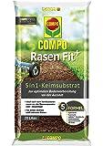 Compo Rasen Fit+, 5 in 1 Keimsubstrat, Für die Bodenverbesserung oder nach dem Vertikutieren, 20 Liter, 10 m² Grün