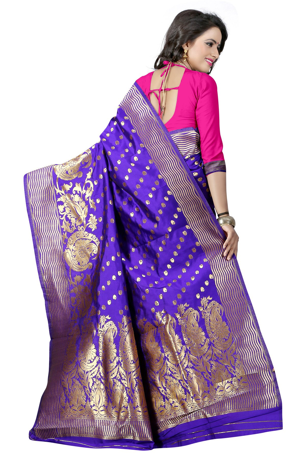 2b96f35df2f61 Stylefabs Women s Poly Cotton Saree With Blouse Piece (Blue And Pink ...
