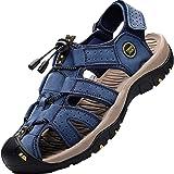 Lvptsh Sandali Sportivi Uomo Cuoio Sandali Trekking Sandali Estivi Chiusi Sandali da Mare All'aperto Spiaggia Pescatore Antis