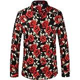 SSLR Camisa con Estampado de Rosas Manga Larga de Algodón para Hombre