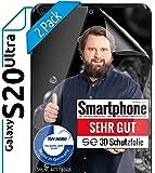 [2 Stück] 3D Schutzfolien kompatibel mit Samsung Galaxy S20 Ultra [Made in Germany - TÜV NORD] 100% Fingerabdrucksensor - Hüllenfreundlich – Transparent – kein Schutz-Glas - Panzer-Folie TPU