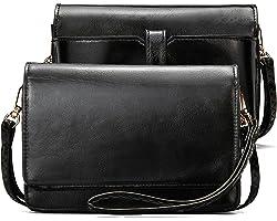BROMEN Damen Umhängetasche Geldbörse Brieftasche Damen Clutch Klein Crossbody Bag aus Leder