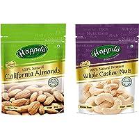 Happilo 100% Natural Premium Californian Almonds, 200g (Pack of 2) & 100% Natural Premium Whole Cashews, 200g (Pack of 2…