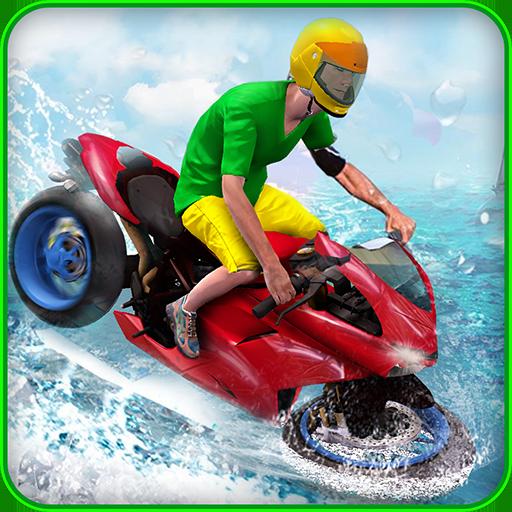 Wasser Surfer Fahrrad Fahrer 3d