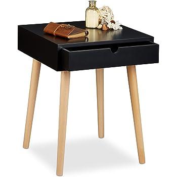 homcom chevet table de nuit ronde design scandinave tiroir. Black Bedroom Furniture Sets. Home Design Ideas