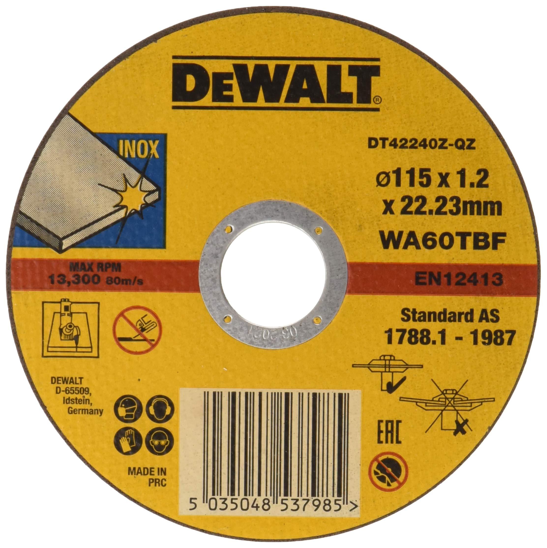 Dewalt DT42240Z-QZ –  Disco abrasivo para cortar acero inoxidable plano (115×1.2×22.23 mm) – 1 unidad