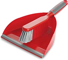 Cello Kleeno Dust Pan with Brush (Red and Grey)