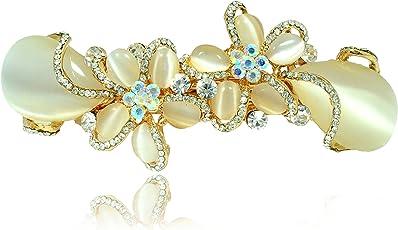 Mansiyaorange Party Casual Wedding wear Designer Premium Fancy Golden Hair Clip for Women(Golden White)
