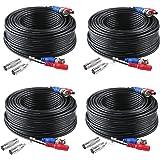 SANNCE 30m Câble de Video DC Power Connecteur BNC Vidéo 4pcs pour CCTV Caméra DVR, Noir