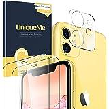 UniqueMe [2 Pack] Protector de Pantalla para iPhone 11 [6.1 inch] + [1 Pack] Protector de Lente de cámara para iPhone 11, Vid