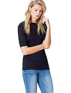 13dbdbf2ea8895 FIND Damen T-Shirt mit rundem Ausschnitt  Amazon.de  Bekleidung