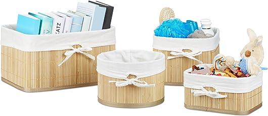 Relaxdays Aufbewahrungskörbe Set Bambus 17,5 X 32 X 23 Cm HxBxT, 4er Set