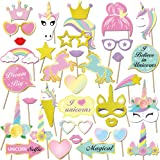 35 Pcs Unicorno photo booth puntelli, Konsait Unicorno party photo booth props Accessori fai da te Kit Foto Props…