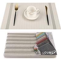 OUME Lot de 6 Sets de Tables PVC Lavables Antidérapant Résistant à l'usure à la Chaleur, Facile à Nettoyer et Stocker…