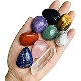 Set di 9 cristalli di Chakra per pietre curative, burattati e lucidati, per 7 Chakra bilanciamento, terapia di cristallo, med