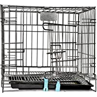 Naaz Pet Supplies Naaz Single Door Folding Metal Dog Cage/Crate/Kennel 18 INCH Antique Black with Removable Tray Rabbit…