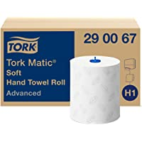 Tork Matic Essuie-mains Rouleaux en papier doux Advanced 290067 - Papier d'essuyage pour Distributeurs H1 - Absorbant et…