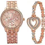 Zuperia Fancy Rose Gold Bracelet with Diamond Studded Analog Watch for Girls & Women