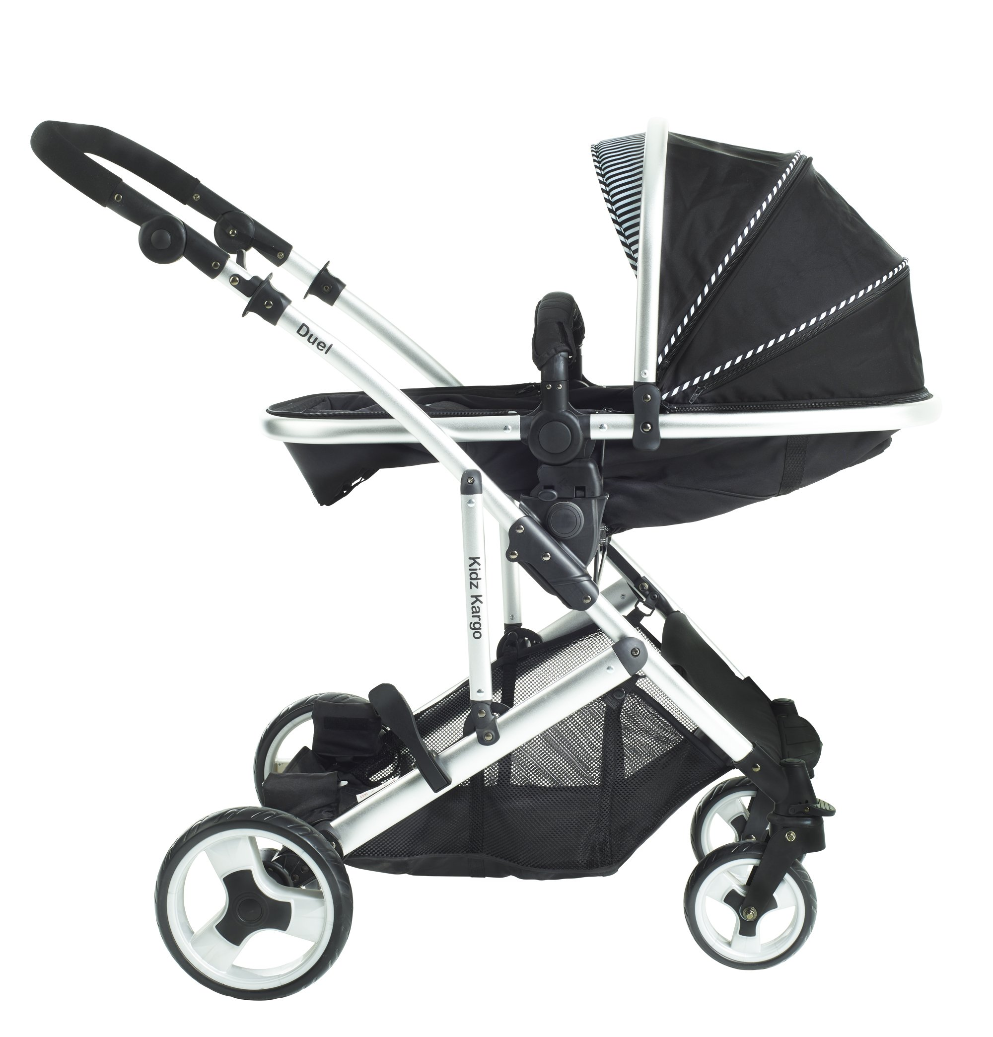 Duel combo Double pushchair with carrycot pram includes 2 FREE footmuffs Newborn & toddler, tandem travel system buggy convertible carrycot to seat unit and toddler/child seat unit, Midnight Black by Kids Kargo Kids Kargo The carrycot when converted to seat unit, can be rear or forward facing. Versatile. Suitable for Newborn and toddler: Carrycot with mattress and soft lining, which zip off. Remove lining and lid, when baby grows out of carrycot mode. Converts to a full sized seat unit, with 5 point harness. Bucket seat unit for toddler or baby over 6 months sits in forward facing bottom position , or forward and rear facing at the top, if car seat used at the bottom. 4