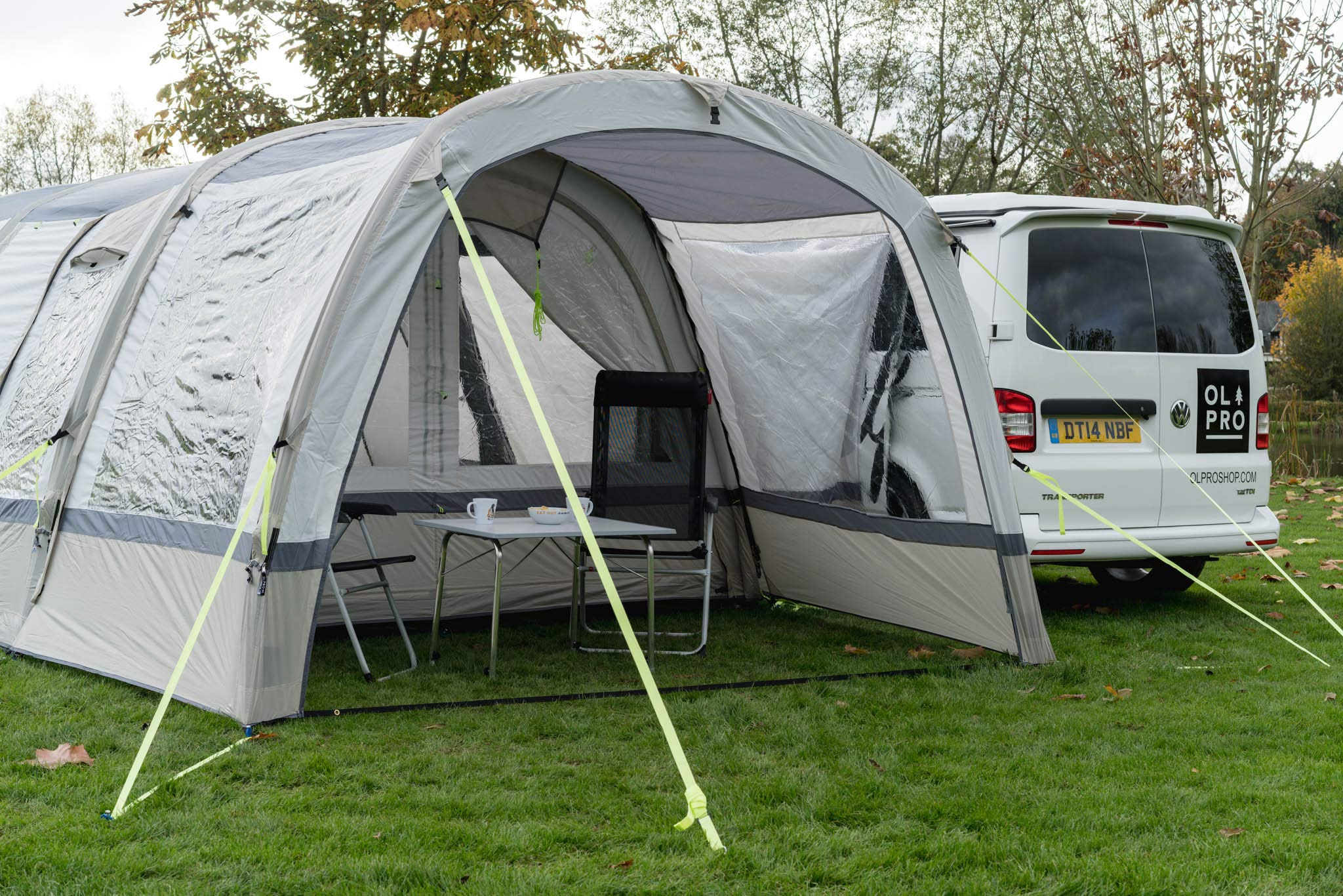 OLPRO Outdoor Leisure Products Cocoon Extension 3.5m x 1.8m Inflatable Drive Away Campervan Awning Porch Extension for Cocoon Breeze Sage Green & Chalk 3