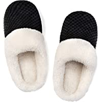 Ladies' Comfort Coral Fleece Memory Foam Slippers Fuzzy Plush Lining Slip-on Clog House Shoes for Indoor & Outdoor Use