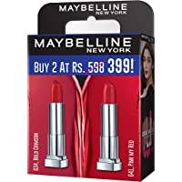 Maybelline Creamy Matte Bold Crimson & Pink My Red (Pack of 2)