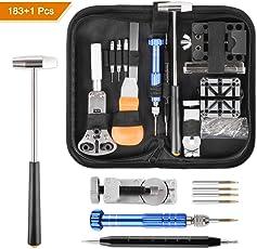 Yissvic Uhrenwerkzeug Set 183-teilig Uhren Reparatur Set Profi Uhrmacherwerkzeug Uhr Reparatur Werkzeug mit Nylontasche (schwarz)