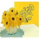 PaperCrush® Pop-Up Karte Sonnenblumen - 3D Blumenkarte für diverse Anlässe (Geburtstagskarte, Danke, Gute Besserung) - Handgemachte Popup Karte mit Blumenmotiv
