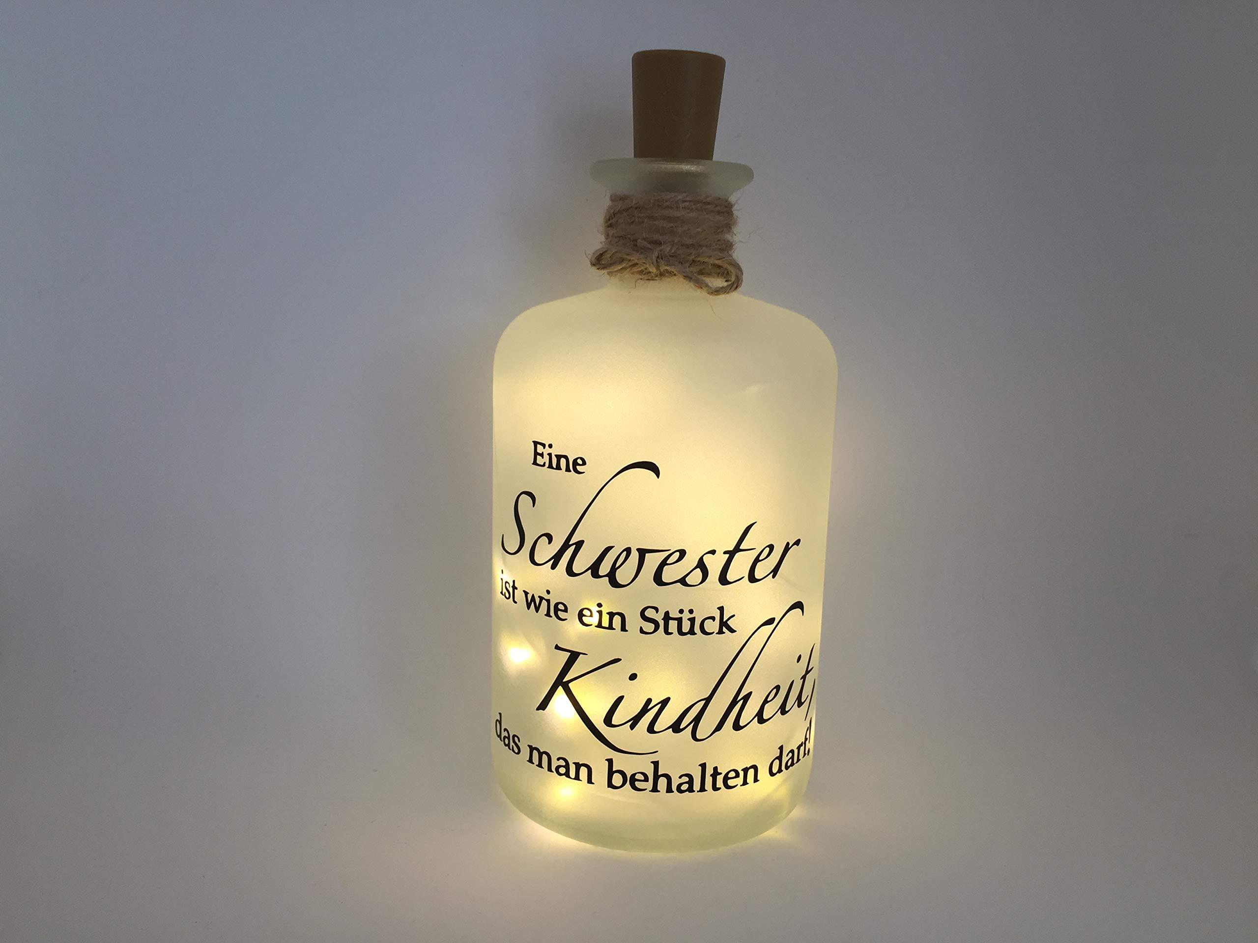 Farbwuselei Flaschenlicht Eine Schwester ist wie EIN Stück Kindheit, das Man behalten darf Made in Germany