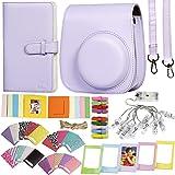 Revefilms, Hoes en accessoires compatibel con Instax Mini 11 lila, incl. tas en riem, album voor 108 fotos, led-klemmen, stic