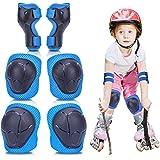Elleboog- en kniebeschermers kinderen/jeugd, 6-in-1 beschermset, kinderset kniesteun, verstelbare polsbeschermers voor kinder