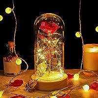 E-MANIS Rose Éternelle Enchantées, la Rose à la Feuille d'or dans Le dôme en Verre avec lumières LED, Base en Bois et…
