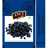 Ancy Foods Premium Dry Fruits Black RaisinKali Darakh 1kg, Pack of 4x250g, NATURAL