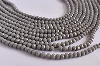 The Design Cart Gray Opaque Tyre/Rondelle Shaped Crystal Beads (6 mm) 1 Line for – Jewellery Making, Beading, Arts and Crafts and Embroidery.