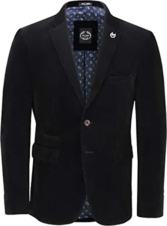 Xposed Mens Soft Corduroy Blazer Coat Vintage Retro Tailored Suit Jacket UK[BLZ-MATTHEW-BLACK-40,Blazer-Black,Chest UK/US 40 EU 50]