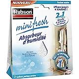 Rubson Minifresh Absorbeur d'Humidité en sachet, spécial placards, tiroirs, penderies, Absorbeur d'odeur 2 sachets parfum neu