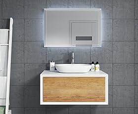 Badezimmer Badmöbel Furore 90 Cm Weiß   Unterschrank LED Spiegel Waschbecken  Waschtisch