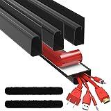 J Channel Kabelgoot Kit - Computer Bureau Systeem voor Kabelmanagement – Set van 4x 41cm Zwarte Kabelgeleiders voor Onder Taf